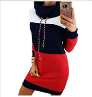damen kapuzenkleid großhandel-Frauen-Patchwork-Kapuzenpullis-Herbst-Winter-neue Dame-langes Kleid-Oberbekleidung-Kontrast-Farbe mit Kapuze Hoodies