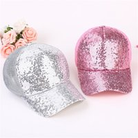 Wholesale design baseball caps for sale - Adults Children Suit Sequins Hats Shiny Mesh Design Baseball Cap Sweat Absorb Quickly Outdoor Caps Hot Sale zy Z
