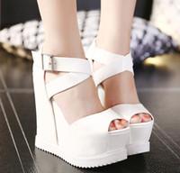 açık ağız topuklu toptan satış-Yaz Toka kadın Sandalet PU Balık Ağzı Moda Yüksek Topuk Platformu Takozlar Açık Toe Kadın Sandalet Ayakkabı CZ126