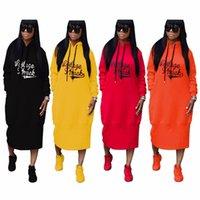 Wholesale hooded plus size dress - Factory Wholesale Women Winter Dress Hooded Long Sleeve Letter Print Dresses Casual Vestidos Longo TS702