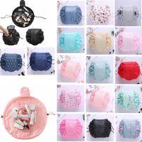 Wholesale flamingo handbags - 16 colors Vely lazy cosmetic bag Flamingo Unicorn print Drawstring bag Makeup Handbags Travel Portable Cosmetic Pouch GGA404 30PCS