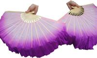 fãs roxos venda por atacado-luz roxo-roxo, 1 par de 30 cm de bambu + 10 cm de dança chinesa ventilador de seda (flutter), 2 camadas de seda flowy real!