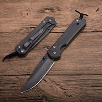 cuchillos cr al por mayor-Caída de envío CR Sebenza Cuchillo plegable pequeño Hoja de acero de Damasco TC4 Titanio Aleación Bloqueo del marco EDC Navajas de bolsillo