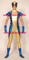 traje de cuerpo azul metálico al por mayor-Azul / Oro Brillante Lycra Metallic Superhéroe Wolverine Catsuit Disfraces Unisex Fantasía Super Hero Body Suit Outfit Halloween Cosplay P277
