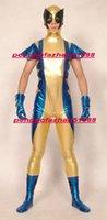 terno azul metálico do corpo venda por atacado-Azul / Ouro Brilhante Lycra Metallic Wolverine Superhero Wolverine Catsuit Trajes Unisex Fantasia Super Hero Corpo Terno Roupa Halloween Cosplay Terno P277