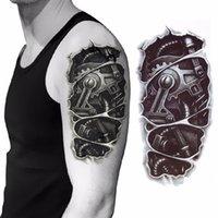 ingrosso tatuagem 3d-Autoadesivo del tatuaggio del dado di fissaggio del braccio meccanico 3D per gli uomini Braccio Tatuagem temporaneo Tatuagem del corpo della mano del braccio della mano