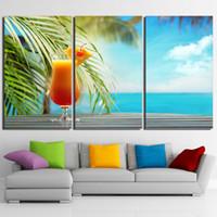 peintures marines tropicales achat en gros de-Impressions HD Toile De Cuisine Mur Art Affiches 3 Pièces Fruits Boissons Peintures Tropical Beach Paysage Marin Photos Cadre Décor À La Maison