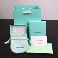 çanta hediye paketi kağıdı toptan satış-Sıcak satış ünlü marka Mavi takı Kutuları set bilezik kolye Yüzük kutuları ile Kağıt torbalar ve sertifika hediye ambalaj neckalace kutuları