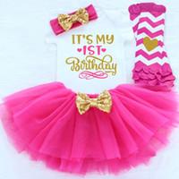 ingrosso pagliaccetto di compleanno della bambina-Neonata Prima ragazza 1 ° 2 ° Compleanno Party Outfit Fluffy Tutu Little Baby Abbigliamento Pagliaccetto + Gonna + Set fascia Tute