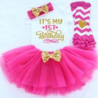 neugeborene erste kleidung großhandel-Neugeborenes Baby Mädchen erste 1. 1/2 2. Geburtstag Party Outfits flauschige Tutu wenig Baby Kleidung Strampler + Rock + Stirnband Sets Anzüge