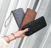 Wholesale brown glitter purses - 3styles Women Wallet Glitter Sequin star Party Card Holder Long Clutch Zipper Purse Phone Handbag FFA451