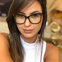 gözlük çerçeveleri kedi gözü toptan satış-Kedi Göz Gözlük Çerçeveleri Kadınlar Marka Optik gözlük çerçeve kadınlar Şeffaf lens sahte gözlük Boy Moda Gözlük Bilgisayar