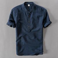 ingrosso mens camicia di lino manica corta-Camicie da uomo Moda estiva manica corta Camicie di lino sottili Camicie casual di colore bianco maschile Plus Size 4xl Top Spedizione gratuita