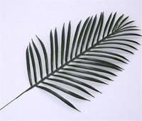 grandes plantes artificielles achat en gros de-Mignon Grand Vert Palm Feuilles En Plastique Faux Plante Artificielle Feuille Home Office Décoration bricolage Suspendus Feuilles Artificielles