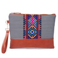 Wholesale wristlet pouch for sale - Group buy Blanks Black And White Stripe Wristlet Bag Women Canvas Stripe Clutch Stripes Aztec Pouch Gift DOM1168