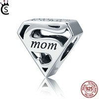 Wholesale pandora style bracelets sterling silver - Authentic S925 Sterling Silver Super Mom Mother Engrave Beads fit Charm Bracelets & Bangles Jewelry Mother Gift Pandora style