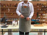 restoran sat toptan satış-Sıcak Satış Kore Versiyonu Önlük Özel Hakiki Deri Açık Gri Denim Tuval Tulum Kahve Dükkanı Restoran Boyama