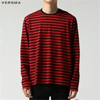 Wholesale kpop gd - Wholesale-VERSMA BTS Kpop Korean Harajuku GD Black White Striped T-shirt Men Women Unisex Loose Oversize Extra Long Sleeve Couple T Shirt