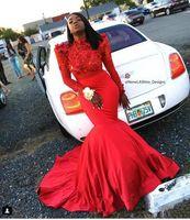 ingrosso fiore rosso pizzo nero-2019 Red Mermaid African Prom Dresses Fiori 3D Abiti da sera manica lunga Black Girl Lace Applique Vestito da festa celebrità formale