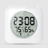 acryl blumenuhren großhandel-Weiß Wasserdicht Digital Bad Dusche Hängen Uhr LCD Display Saugnapf Wand Tabel Uhr Temperatur Thermometer Hygrometer AAA626