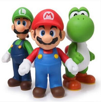 muñecas luigi gratis al por mayor-Envío gratis Super Mario Bros Mario Yoshi Luigi Pvc figura de acción Colección Modelo Juguetes Muñecas 3 unids / set Smfg225