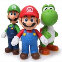 spielzeug super mario großhandel-Freies Verschiffen Super Mario Bros Mario Yoshi Luigi PVC-Tätigkeits-Abbildung Ansammlungs-Baumuster spielt Puppen 3pcs / Set Smfg225