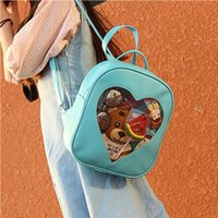 Wholesale lovely sweet heart - Transparent Heart Window Sweet School Bags For Girl Travel Backpack Candy Color Lovely Bag Casual Cute Girls Gift