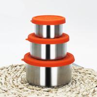 contenedores de comida rápida al por mayor-Juego de contenedores de almacenamiento de alimentos de acero inoxidable Nesting Trio Snack Containers con tapas de silicona Naranja resistente a las fugas