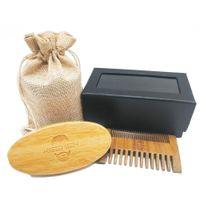 Wholesale Fine Beard - Your LOGO Customizd Boar Bristle Beard Brush and Fine&Coarse Teeth 2 Sided Green Sandalwood Combs Hair Combs With Gift Box Men Grooming Kit