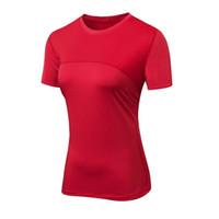 enge laufen shorts frauen großhandel-Frauen Yoga Shirts Sexy Sport Top Fitness Top Solide Running Enge T-Shirts Fitness-Studio Kleidung Quick-dry Stretch Kurzarm-Sportbekleidung