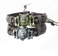 Wholesale wolf head bracelets - Man's Coffee Leather Bracelet Cool Wolf Head Design Charm Wristband Jewelry Holiday Gift for Men and Women Free Shipping