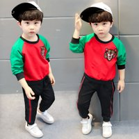 Wholesale Girls Tiger Sets - New 2018 Fashion Baby Girl Tiger head Boy Clothes Tiger Head T-Shirt Long Pants Outfits 2Pcs Clothing Set Baby Girl Clothes