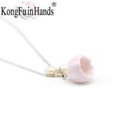collar de perlas rosa pendiente conjunto al por mayor-Lilium Necklace Earring Jewelry Set 925 Sterling Silver Freshwater Pearl Ceramics Ornamento Pink Romantic Jewelry