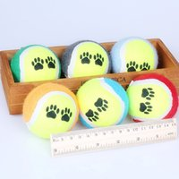 Wholesale ball run toy - Round Puppy Tennis Balls Wear Resistant Footprint Pattern Pet Dog Chew Toy Run Fetch Throw Play Toys Durable 0 85cx BB