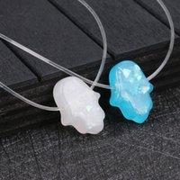 opal choker halsketten großhandel-Blau weiß opal halskette hand anhänger halskette transparent kette choker frauen schmuck collier 2018 mode
