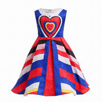 Wholesale heart flower girl dresses - INS Girl Princess Dress Heart Style Printed Summer Sleeveless Flower Tutu Dress Kids Elegante Dress NEW Arrival
