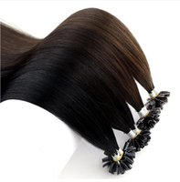 """Wholesale double drawn 1g hair extensions - Dark Color Double Drawn Straight Remy Human Keratin Hair Nail U Tip Pre Bonded Capsules Hair Extension 16""""-24"""" 1g s Many Colors"""