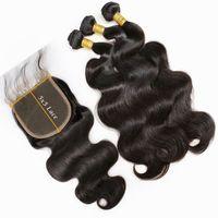 ingrosso chiusure nodali node-Chiusura del merletto dell'onda del corpo 5x5 con i pacchi Chiusura brasiliana dei capelli dei capelli umani di Remy dei nodi con la parte libera dei capelli del bambino