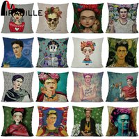 Wholesale green brown bedroom - Cushion Cover Frida Kahlo Women Home Sofa Decorative Throw Pillowcase Flowers Bedroom Waist Cushion Case Home Decor