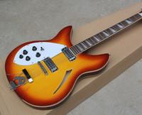 gaucher creux achat en gros de-Livraison Gratuite Usine Personnalisé Gaucher Sunburst Semi-creux 12 Cordes Guitare Électrique, Touche En Palissandre, Matériel En Chrome, guitare