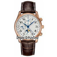 Wholesale perpetual moon - New Luxury Master Collection L2.673.8.78.3 Rose Gold Perpetual Calendar Automatic Moon Phase DayDate Mens Watch Leather Watches Sale 163b2