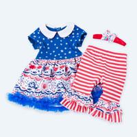 vestido pantalones chica diadema al por mayor-4 de julio Conjuntos de ropa Pantalones de vestir para bebés y niños pequeños Arco Diadema Estrella Nube Pez Sol Impreso Rayas Patchwork Encaje Independencia Americana