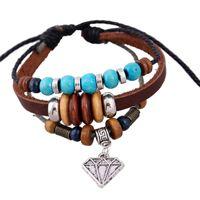 perlen armband preisgestaltung großhandel-Punk New Leder String Of Beads Tag Liuhang Rindsleder Armband Männer Niedriger Preis Retro Armbänder für Frauen
