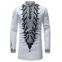 traditionellen stand großhandel-SHUJIN African Dashiki Stehkragen Traditionelle Druck Langarm Shirt Herren Langarm Shirt Neue Ankunft Afrika Kleidung