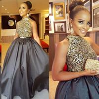 glamouröses mädchenkleid großhandel-Luxus-Mode Junior Mädchen Celebrity Prom Kleider Goldene Perlen Pailletten Sleeveless Mini High Neck Glamorous Abendkleider Satin Party Kleid