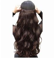 longas extensões de cabelo venda por atacado-Grampo longo de 24 polegadas nas extensões do cabelo do ins Extensões sintéticas do cabelo de 100% natural Extensões 3/4 de cabeça cheia 1 parte Preto de Brown