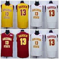 Wholesale Arizona States - Mens Arizona State Sun Devils College Basketball Jerseys #13 James Harden Red White Black Stitched Throwback Jersey S-3XL
