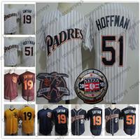 Wholesale tony short - San Diego #51 Trevor Hoffman 2018 HOF Jerseys White Navy Blue Stitched 19 Tony Gwynn Retirement Patch Hall of Fame 1998 Vintage Baseball