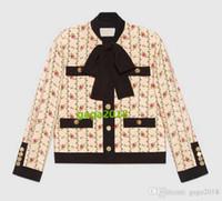 frente rosa venda por atacado-High end design de Luxo mulheres meninas manga longa De Seda marocain jaqueta com impressão rosa bolsos Front patch Outono e inverno casaco jaqueta terno