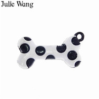 кости черный металл оптовых-Julie Wang 10PCS Alloy Black White Enamel Dog Bones Charms Necklace Pendant Earrings Findings DIY Metal Accessory Jewelry Making